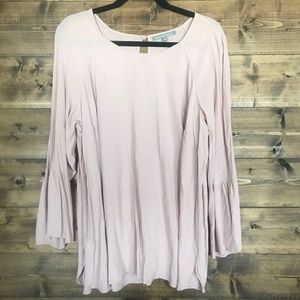 Pale Pink Bell Sleeve Blouse